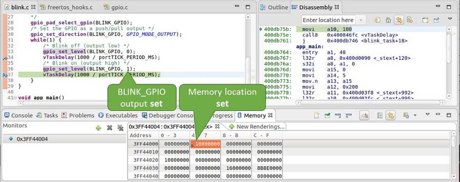 Observing memory location 0x3FF44004 changing one bit to ON""