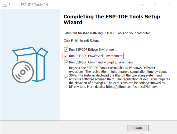 Completing the ESP-IDF Tools Setup Wizard with Run ESP-IDF PowerShell Environment