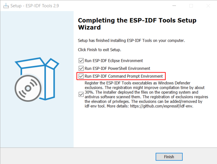 Completing the ESP-IDF Tools Setup Wizard with Run ESP-IDF Command Prompt (cmd.exe)
